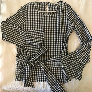 NWOT Nordstrom Black & White Gingham Top